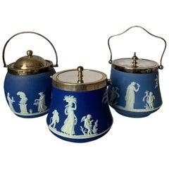 Set of 3 Wedgwood Blue Jasperware Biscuit Barrels