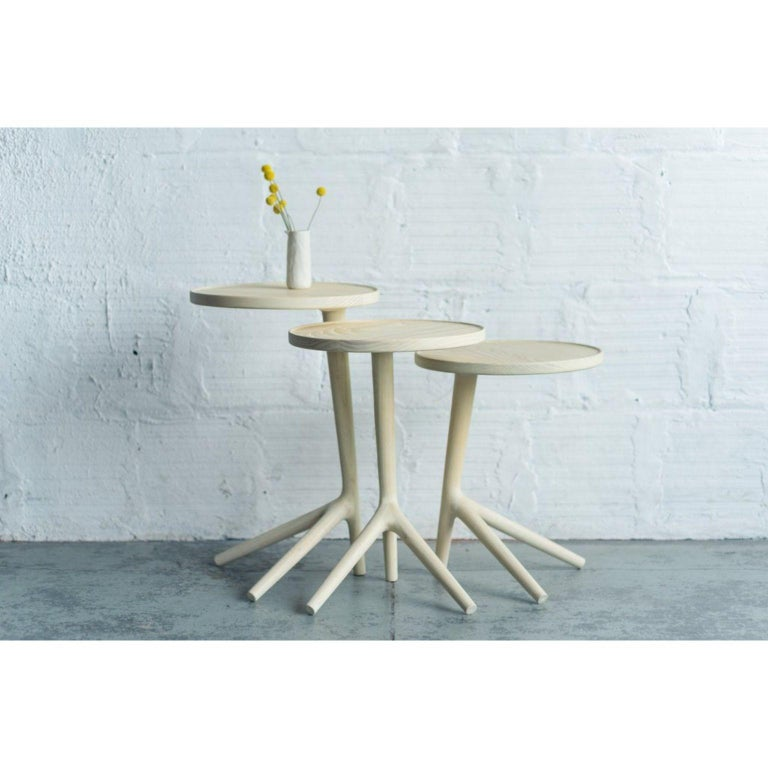 Set of 3 white ash tripod table by Fernweh Woodworking Dimensions: 25