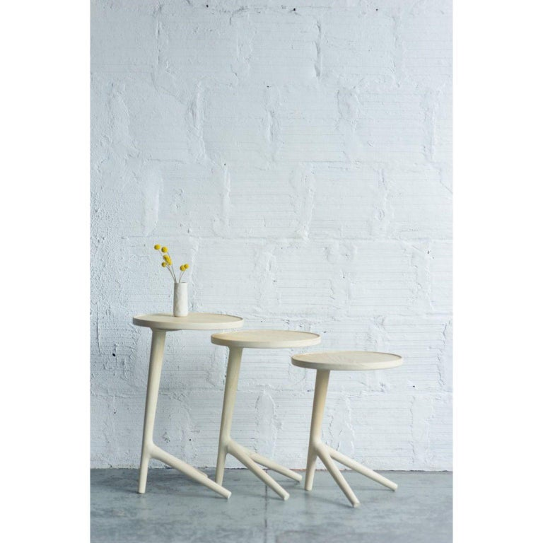 Modern Set of 3 White Ash Tripod Table by Fernweh Woodworking For Sale