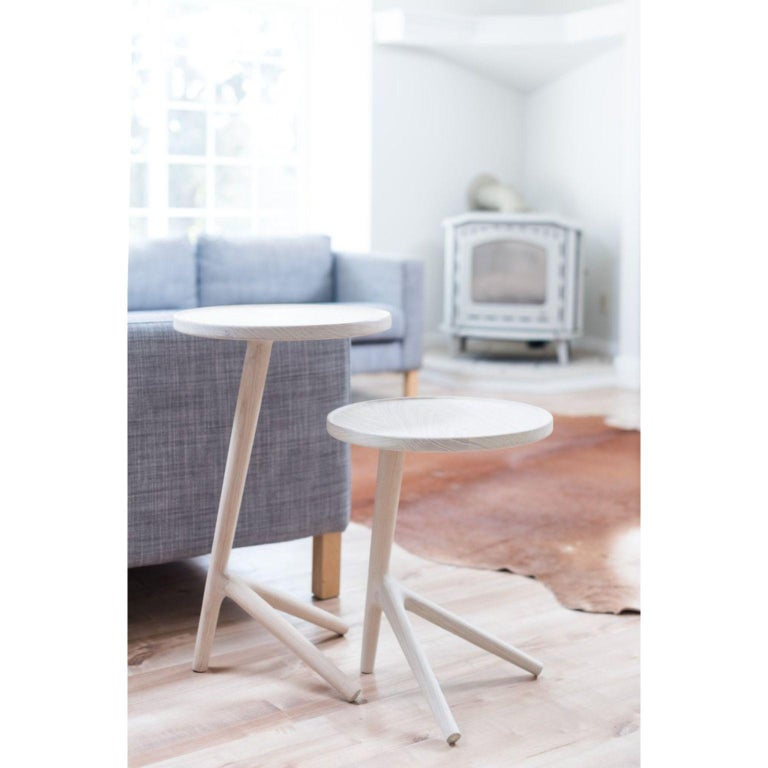 Contemporary Set of 3 White Ash Tripod Table by Fernweh Woodworking For Sale
