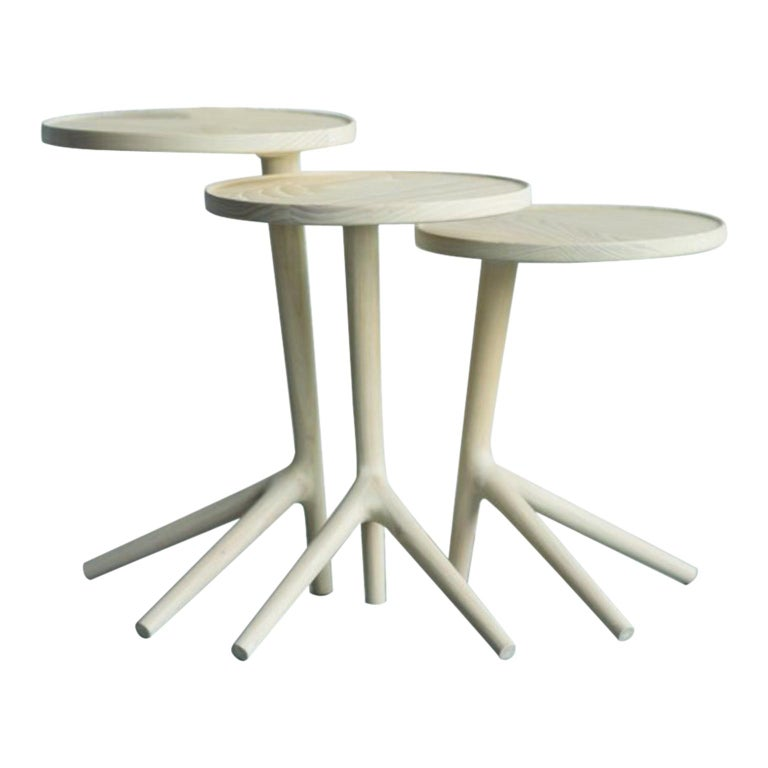 Set of 3 White Ash Tripod Table by Fernweh Woodworking For Sale