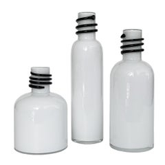 Set of 3 White Cased Glass Vases / Bottles by Tarnowiec