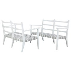 Set of 3 White Painted Wooden Benches with 1 Armchair, Italy, 1960s
