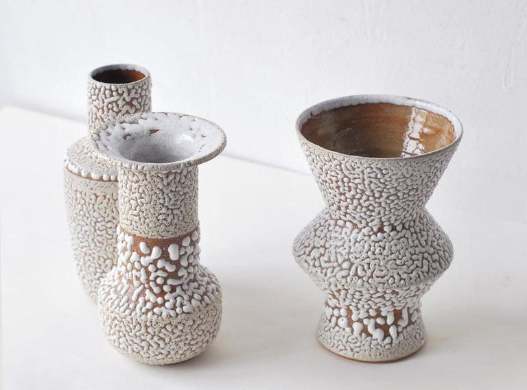 Modern Set of 3 White Stoneware Vase by Moïo Studio