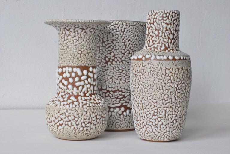 German Set of 3 White Stoneware Vase by Moïo Studio