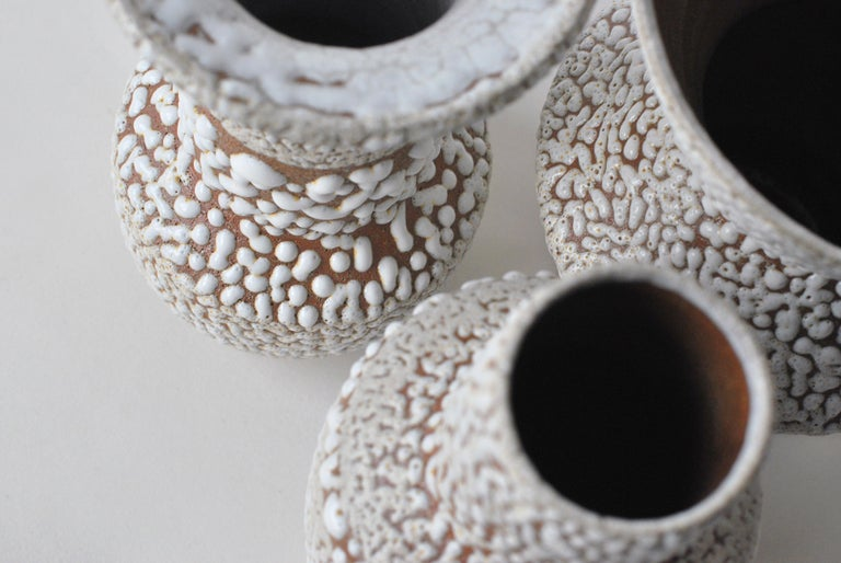 Set of 3 White Stoneware Vase by Moïo Studio In New Condition In Geneve, CH