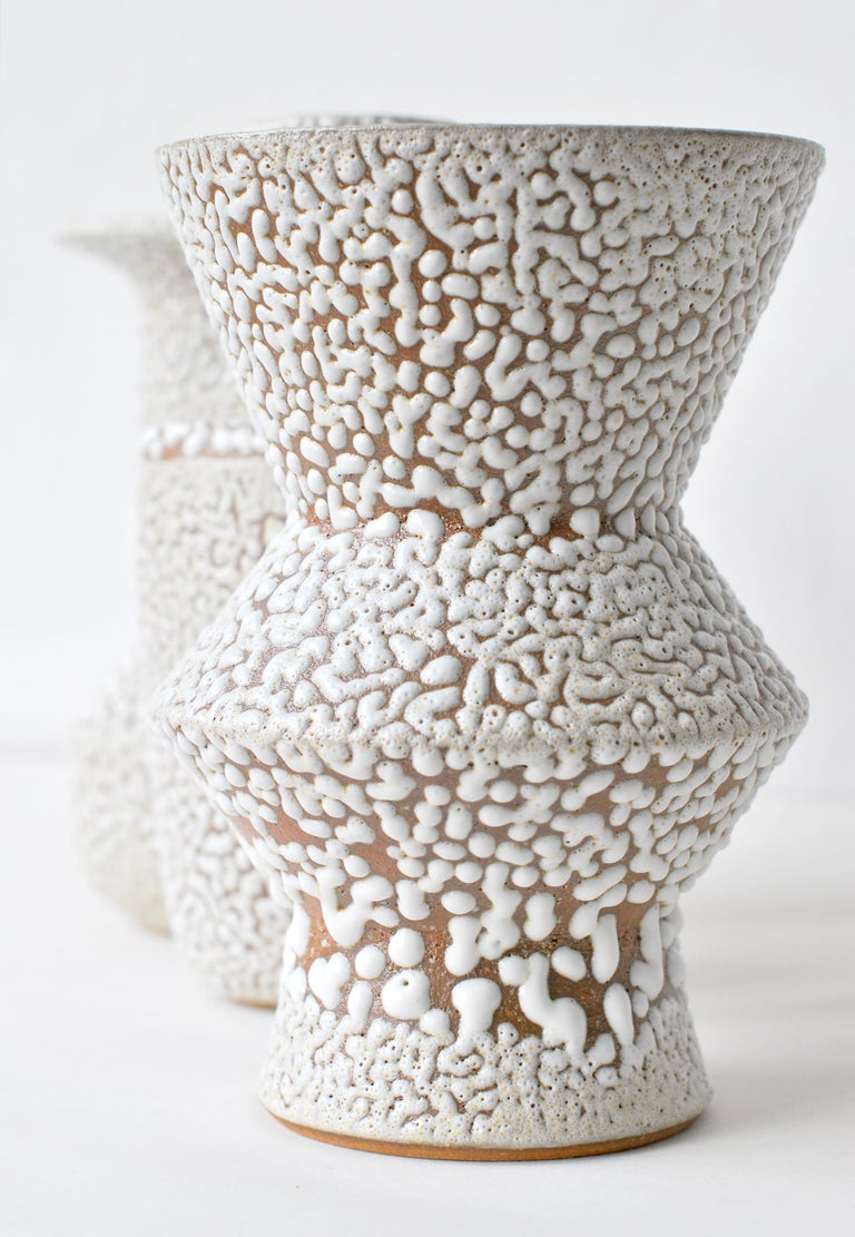 Contemporary Set of 3 White Stoneware Vase by Moïo Studio