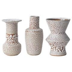 Set of 3 White Stoneware Vase by Moïo Studio
