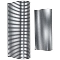 Set of 5 Wire Mesh Grid Lucite Wall Lights Post-Modern, Italy