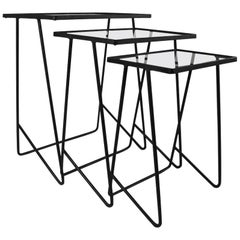 Set of 3 Wrought Iron  Mid Century Nesting Tables after McCobb