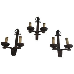 Set of 3 Wrought Iron Sconces, French, circa 1950, Can Also Be Sold Per Unit