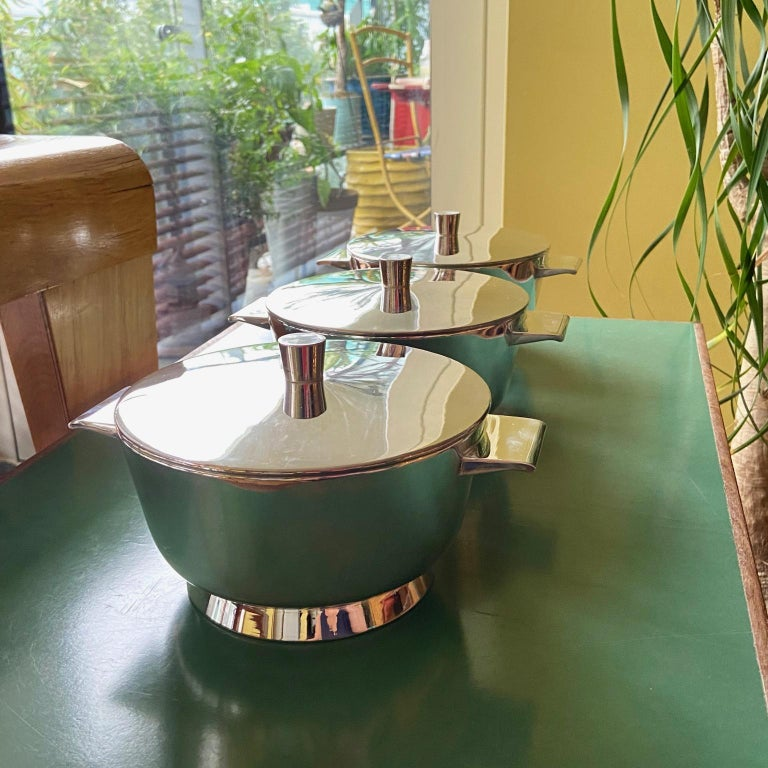 Set of 3 Gio Ponti Silvered Alpaca Deep Serving Tureens and 1  Ladle for Krupp For Sale 4