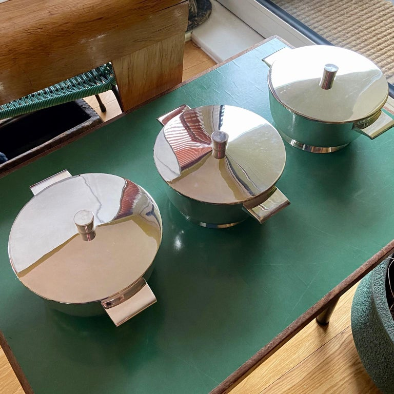 Mid-Century Modern Set of 3 Gio Ponti Silvered Alpaca Deep Serving Tureens and 1  Ladle for Krupp For Sale