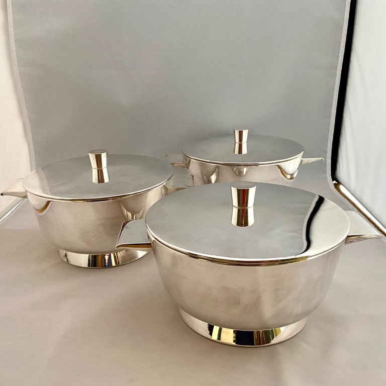 Set of 3 Gio Ponti Silvered Alpaca Deep Serving Tureens and 1  Ladle for Krupp For Sale 1