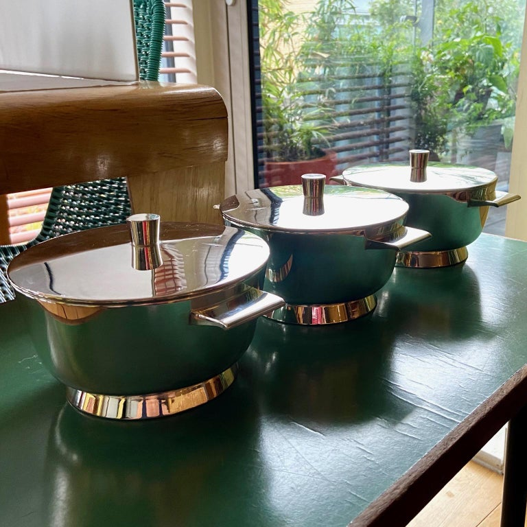 Set of 3 Gio Ponti Silvered Alpaca Deep Serving Tureens and 1  Ladle for Krupp For Sale 3