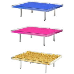 In Stock in Los Angeles, Set of 3 Yves Klein Monopink Monogold & Blue IKB Tables