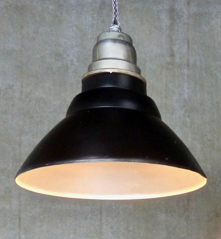 Spun Set of 30 General Electric Industrial Pendants, circa 1940s For Sale