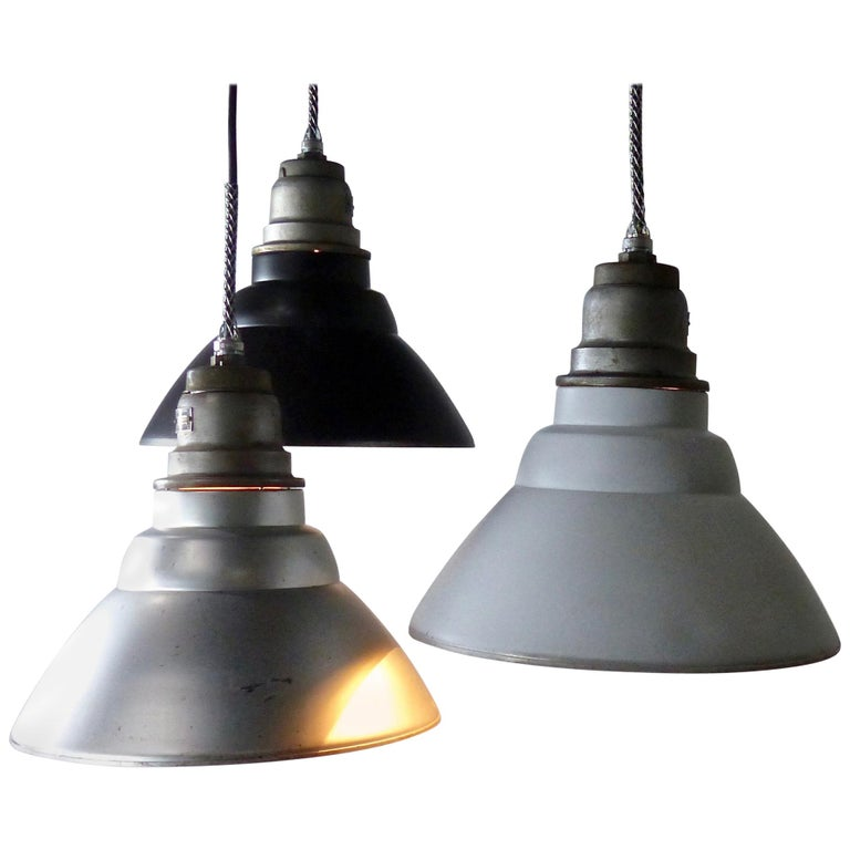 Set of 30 General Electric Industrial Pendants, circa 1940s For Sale