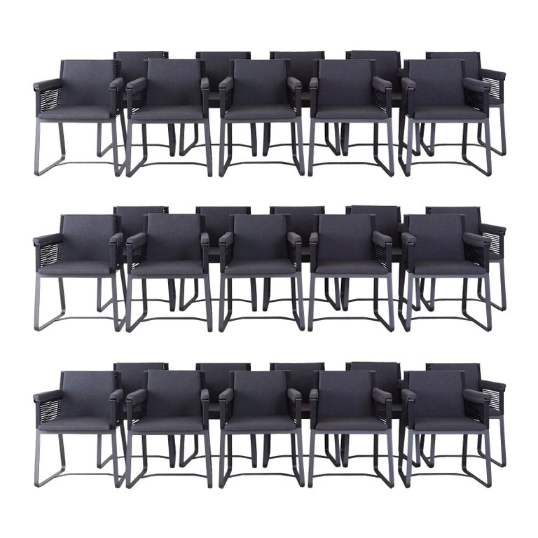 Set of 30 Kettal Landscape Dining Armchairs with Pads For Sale