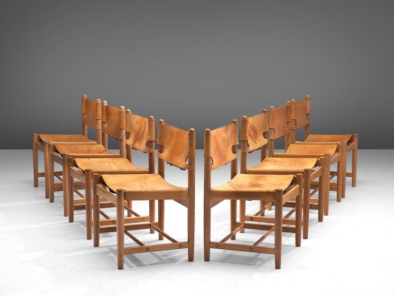 Set of '3237' Chairs in Oak and Cognac Leather by Børge Mogensen In Good Condition For Sale In Waalwijk, NL