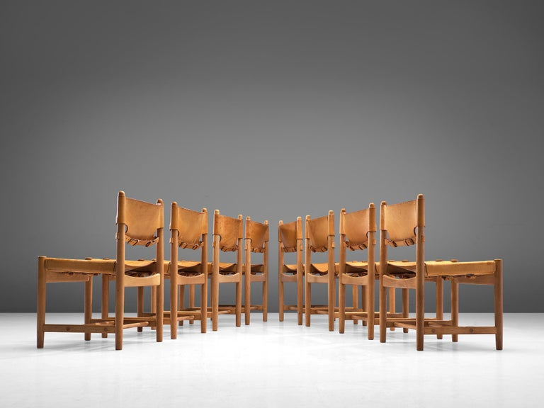 Set of '3237' Chairs in Oak and Cognac Leather by Børge Mogensen For Sale 1