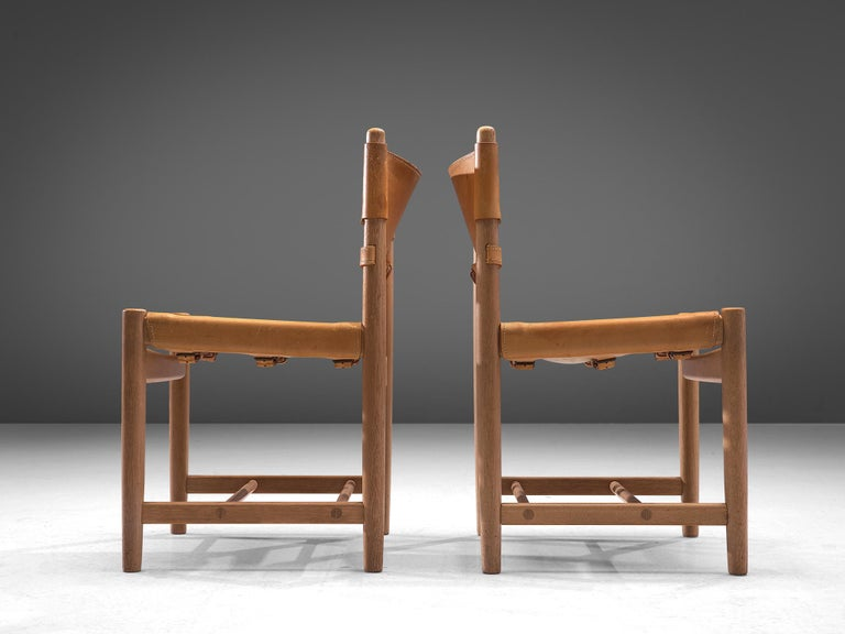 Set of '3237' Chairs in Oak and Cognac Leather by Børge Mogensen For Sale 2