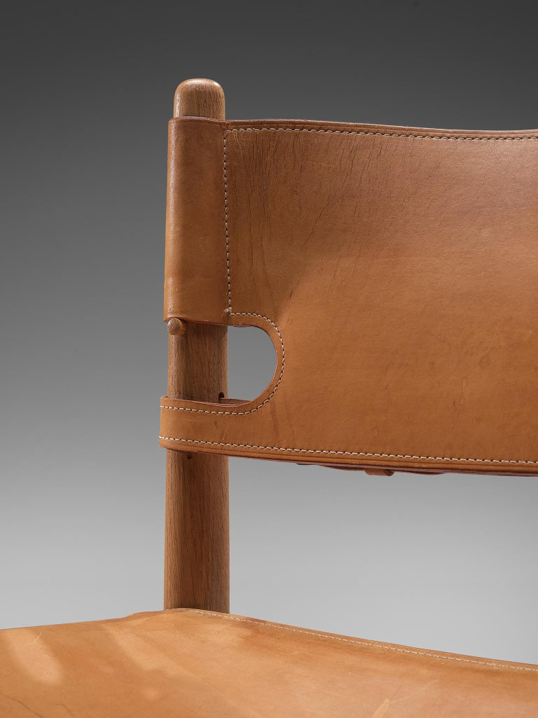 Set of '3237' Chairs in Oak and Cognac Leather by Børge Mogensen For Sale 5