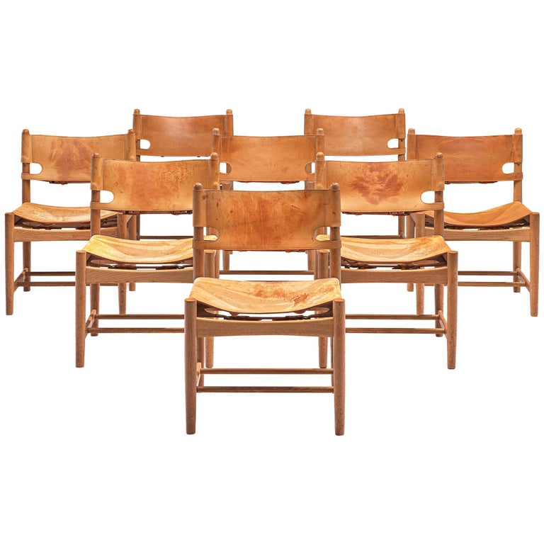 Set of '3237' Chairs in Oak and Cognac Leather by Børge Mogensen For Sale