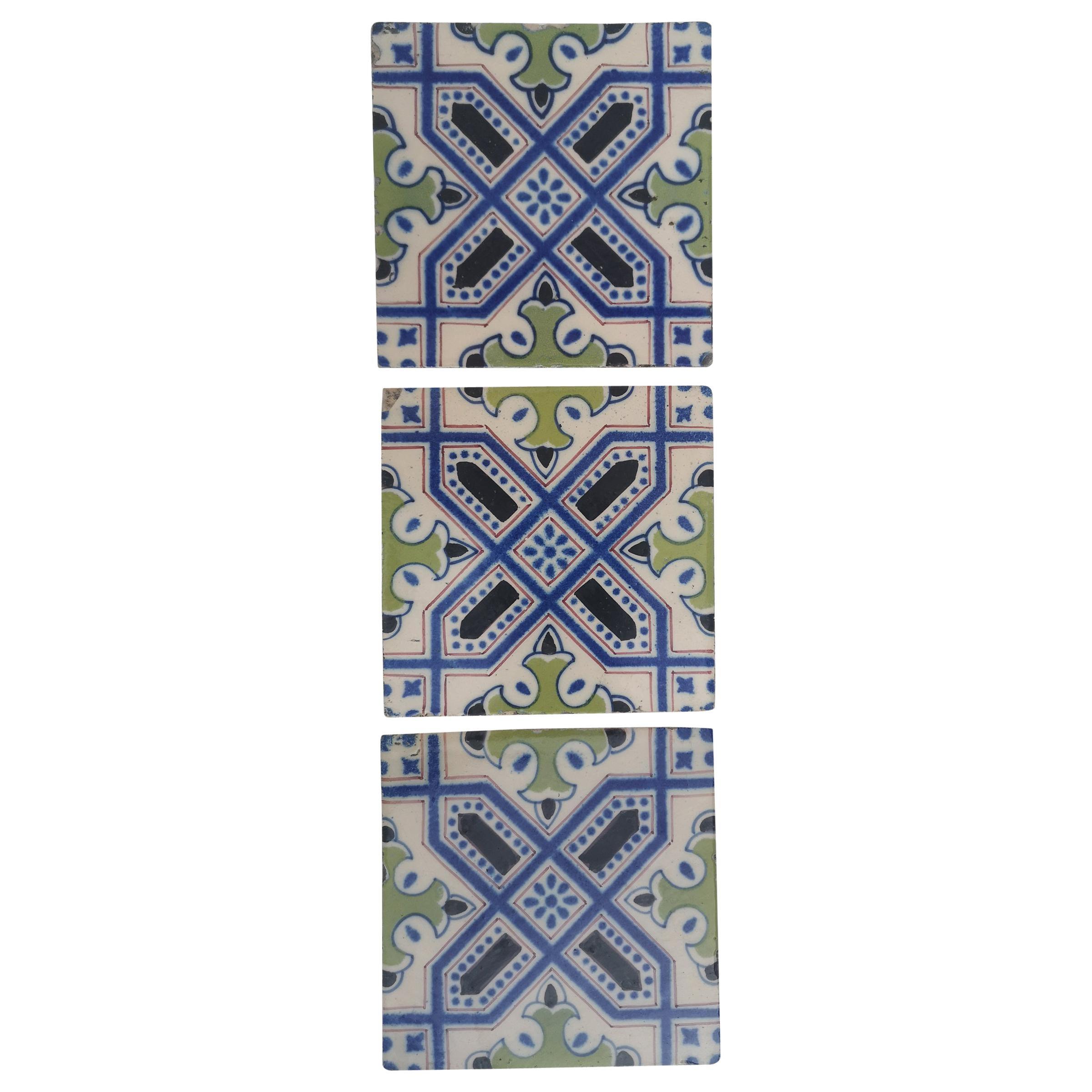 Set of 35 Handmade Antique Ceramic Tiles, Dutch, 1920s