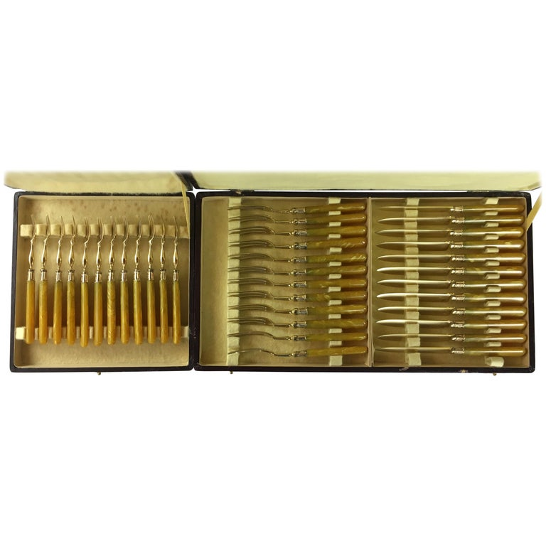 Set of 36 Antique Mother-of-Pearl Handled Knives and Forks, Gold Ferrules For Sale