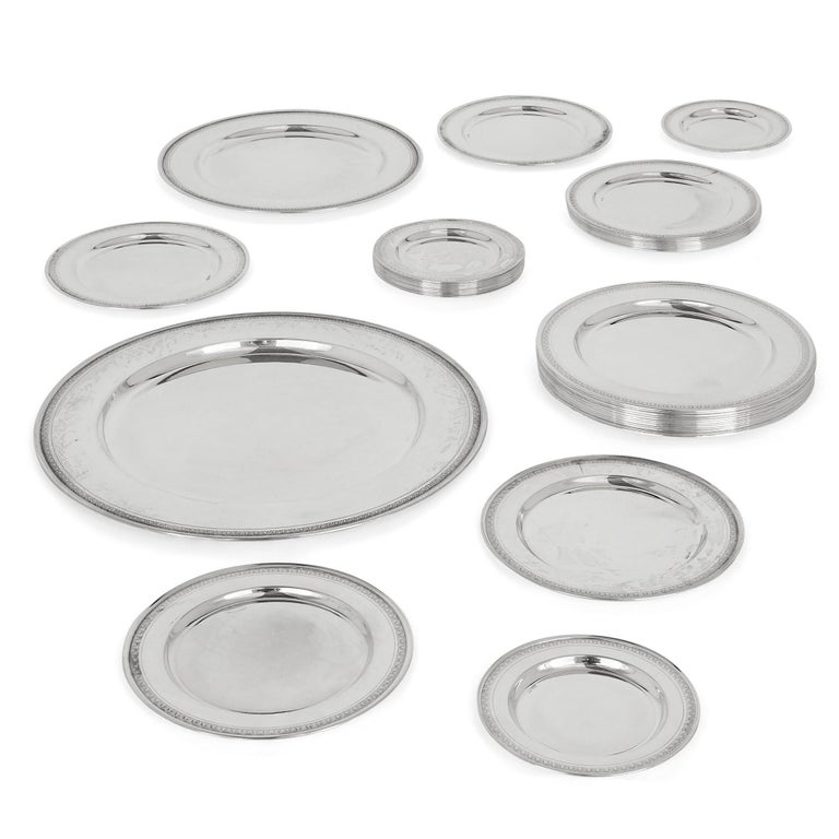 Set of 38 antique Egyptian silver plates