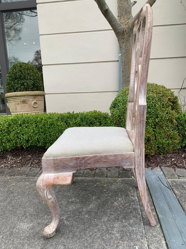 Set of Four 18th-19th Century English Stripped Oak Side Chairs For Sale 1