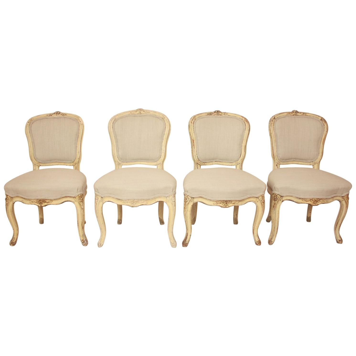 Set of 4 18th Century Painted Louis XV Side Chairs, Attributed to J.B. Mouette