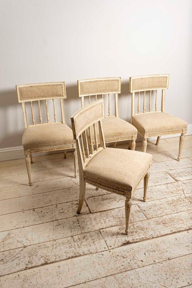 Gustavian Set of 4 1920s Swedish Hand Painted Dining Chairs in the Style of Anders Hellman For Sale