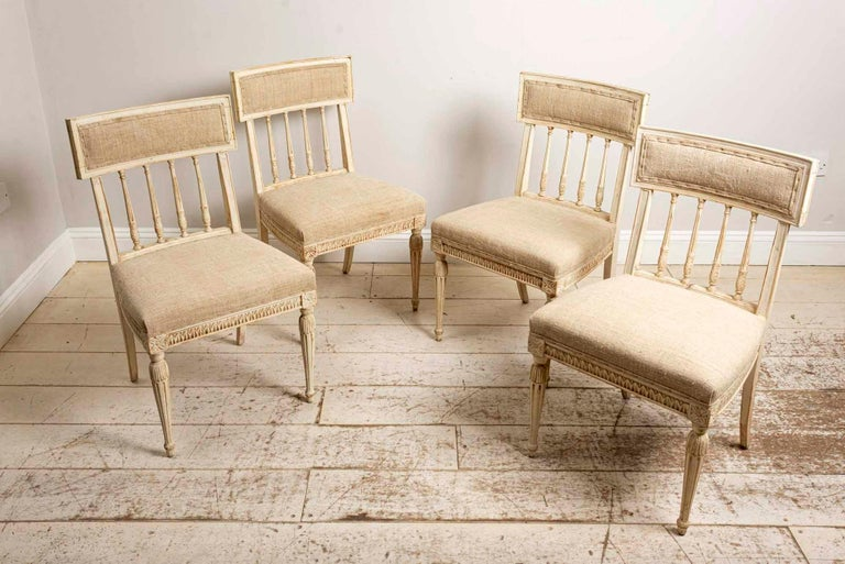 Fabric Set of 4 1920s Swedish Hand Painted Dining Chairs in the Style of Anders Hellman For Sale