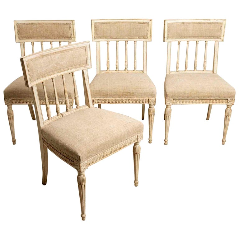 Set of 4 1920s Swedish Hand Painted Dining Chairs in the Style of Anders Hellman For Sale
