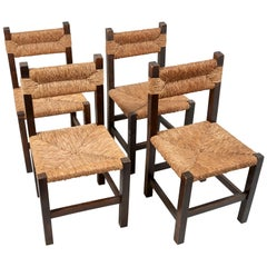 Set of 4 1940s French Rustic Rush Chairs