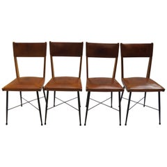 Set of 4 1950s Leather and Metal Italian Dining Chairs