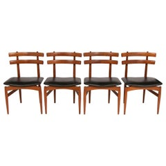 Set of 4 1950s Poul Hundevad Model 30 Teak and Italian Leather Dining Chairs