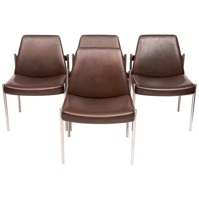 Set of 4 1960s Dining Conference Chairs by Sven Ivar Dysthe for Dokka Mobler For Sale