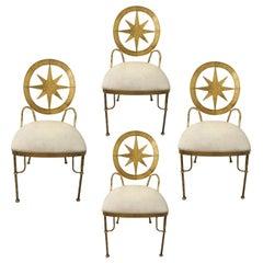 Set of 4 1970s Mid Century Italian Decorative Gilt Metal Star Dining Chairs