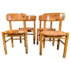 Set of 4 1970s Mid-Century Pine Dining Chairs by Rainer Daumiller