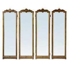 Set of 4 19th-20th Century Louis XV Style Giltwood Antiqued Mirrored Panels