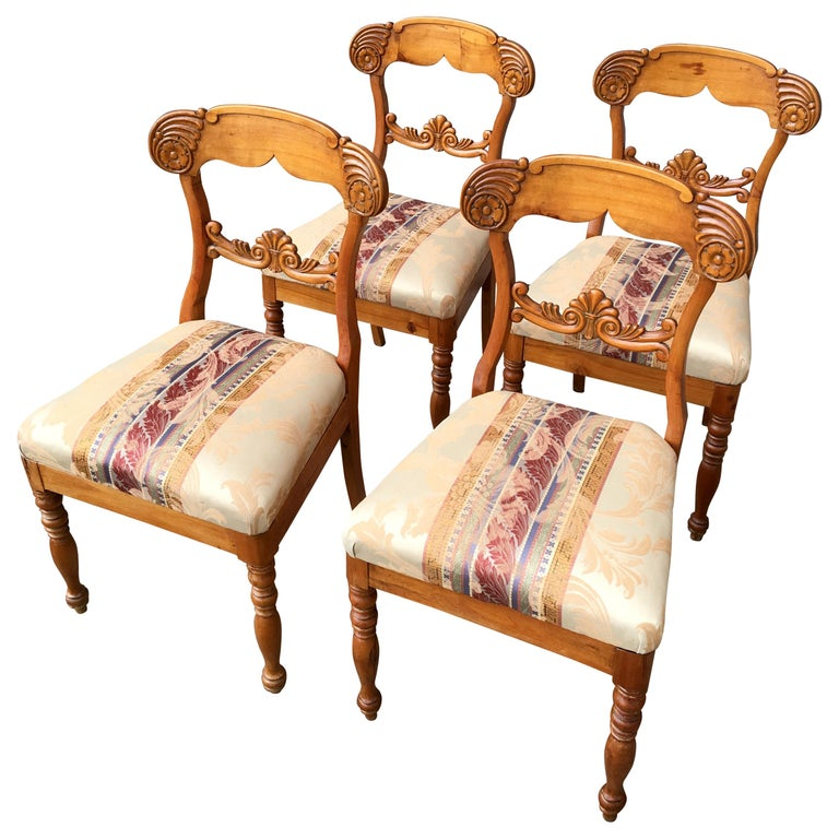 Set of 4 19th Century Biedermeier Dining Room Chairs, Sweden For Sale