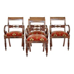Set of 4 19th Century Danish Flame Mahogany Armchairs
