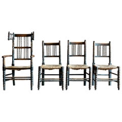 Set of 4 19th Century English Oak Ebonized Bobbin Chairs