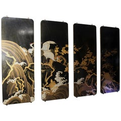 Set of 4 19th Century Oriental Chinoiserie Decorative Lacquered Panels