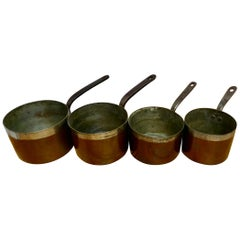 Set of 4 19th Century Scottish Tinned Copper Pots by James Grayson