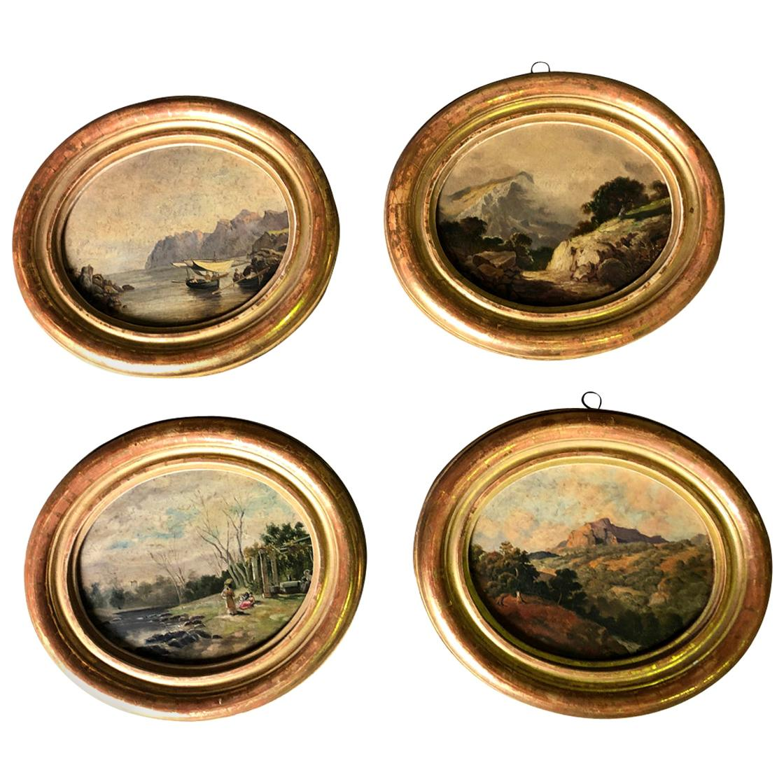 Set of 4 19th Century Spanish Oil Paintings