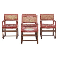 Set of 4 19th Century Walnut Coronation Armchairs